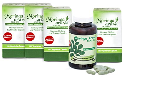 4 Top Moringa Capsules Multivitamin Superfood for Blood Pressure and Lower Cholesterol, Blood Sugar Solution, Thyroid Support, Lactation Supplement, 120 Count for Vegans 310 Mg by Moringa Arava Dead Sea