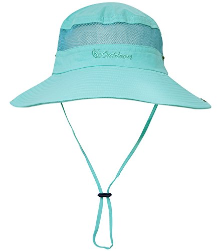 Senker Unisex Outdoor Bucket Mesh boonie Fishing Sun Hat (Light Blue)