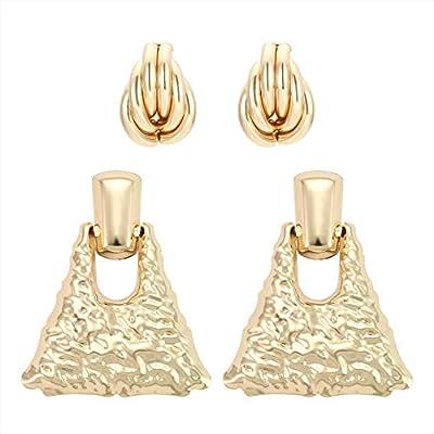TIKCOOL Raised Hammered Dangle Drop Earrings for Women Geometric Earrings Stud Bohemian Earrings Set