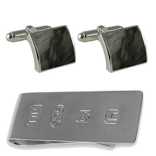 Bond Clip Set Money silver shell Sterling Box cufflinks black James wOqZ0Xx