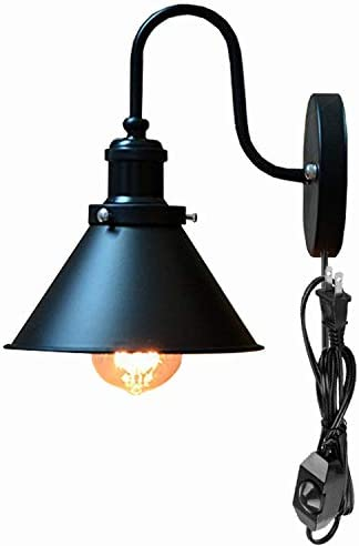 Kiven American Industrial Style Iron Wall Lamp E26 Base Plug-in UL Listed Dimmable Switch Cord Black Bulb Not Included BD0428