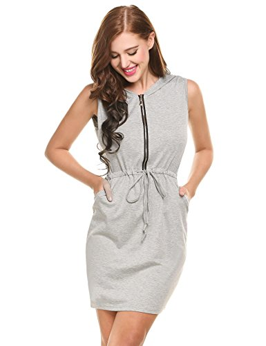 Dress Gray Mini Hoodie Women Neck Waist Drawstring Round With up Short Sleeveless Zip Pocket Beyove PAqaA