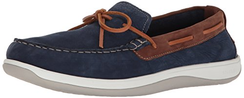 Cole Haan Men's Boothbay Camp Moccasin Boat Shoe, Maroon Blue, 11 M US