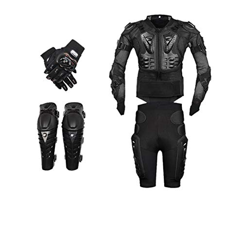 Motorcycle Body Armor Moto Protective Gear Motorcycle Jacket+Shorts Pants+Protection Knee Pads+Gloves Guard black L