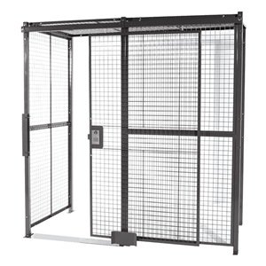 WireCrafters - 10104RW - Welded Wire Partition, 4 sided, Slide Door by Wirecrafters