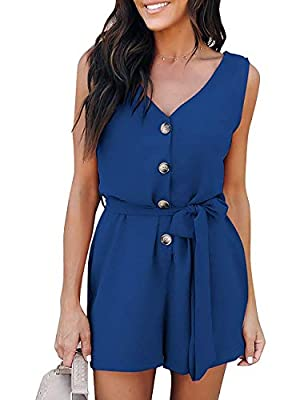 Bainian Women's Summer V Neck Sleeveless Button Belted Solid Casual Romper Jumpsuit with Pockets