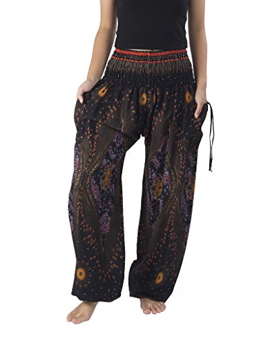 Lannaclothesdesign Women's Smocked Waist Boho Flowy Yoga Harem Pants (XXL, Black)