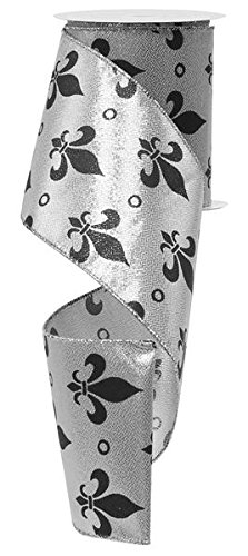 Large Fleur de Lis Wired Edge Ribbon, 10 Yards (Silver, Black, 4