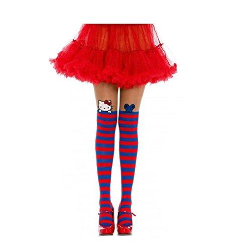 Hello Kitty Sheer (7954 Hello Kitty Pantyhose Sheer Thigh High Blue)