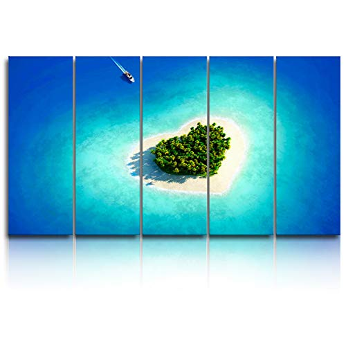- EZON-CH 5 Panels Canvas Wall Art Prints Blue Turquoise Heart-Shaped Beach Island Speedboat Seaview Modern Artwork Large Poster Ready to Hang for Living Room Bedroom Office Home Decor - 16x40 inchx5