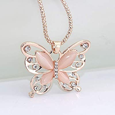 JonerytimeFashion Women Rose Gold Opal Butterfly Charm Pendant Long Chain Necklace Jewelry: Clothing