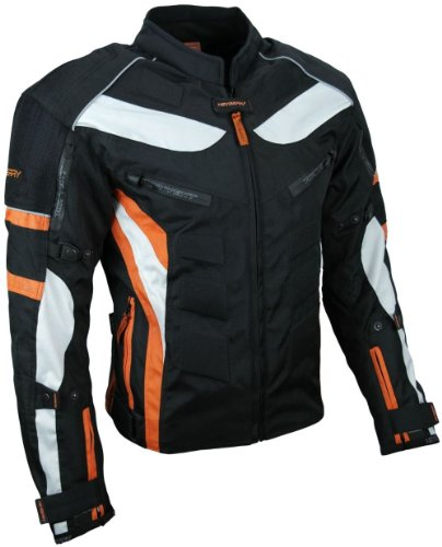 HEYBERRY Textil Motorrad Jacke Motorradjacke Schwarz Orange Gr. 3XL