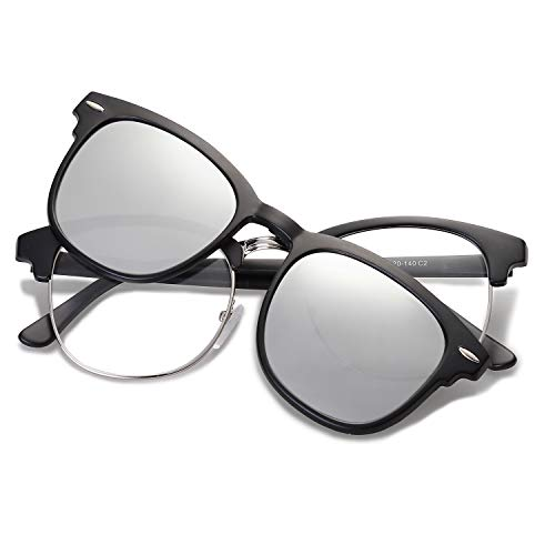 (SOJOS Semi Rimless Polarized Clip On Sunglasses Half Horn Rimmed SJ5018 with Shiny Black Frame/Silver Mirrored Polarized Lens)