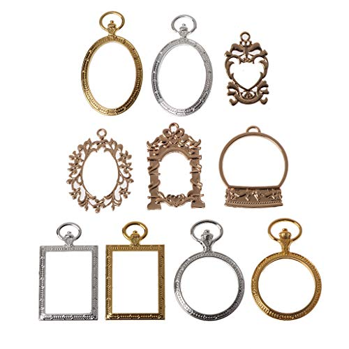 EHOO 10Pcs DIY Pendant Tray-Alloy Open Bezel Charm Pressed Flower Blank Frame Hollow Mould Pendants with Loop for UV Resin Crafts Jewelry Making(Gold,Square) (Metal Resin)