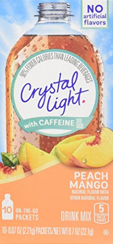 Crystal Light On The Go Peach Mango with Caffeine, 10-Packet Boxes (Pack of 4) (The Punch Light Crystal Fruit On Go)