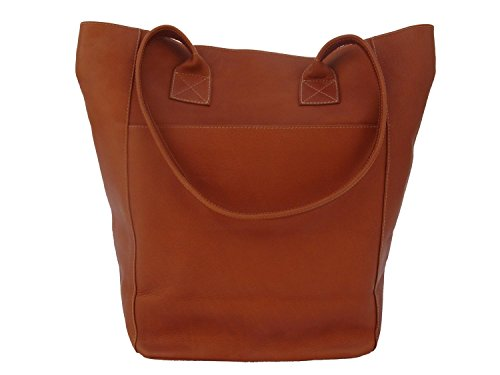 Piel Leather XL Shopping Bag in Saddle