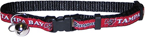 NFL CAT COLLAR. - TAMPA BAY BUCCANEERS CAT COLLAR. - Strong & Adjustable FOOTBALL Cat Collars with Metal Jingle Bell ()