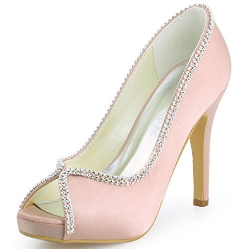 Rhinestone Peep Toe Pump (ElegantPark EP11083 Women Peep Toe Rhinestones Platform High Heel Satin Wedding Evening Dress Pumps Pink US)