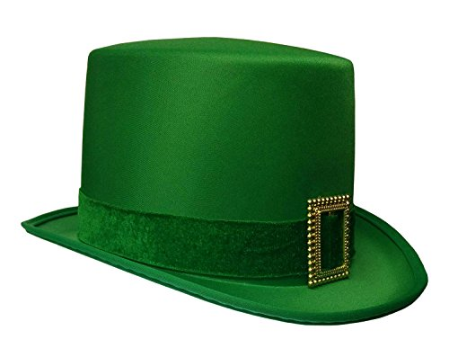 St. Patrick's Day Leprechaun Green Satin Top Hat with Buckle Adult Costume Cap -