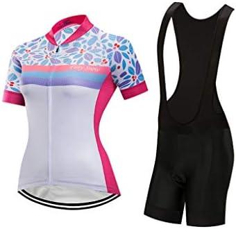 女性のサイクリングジャージビブショーツセット半袖サイクリングジャージ付きゲルパッド入りクイックドライ衣装自転車服セット