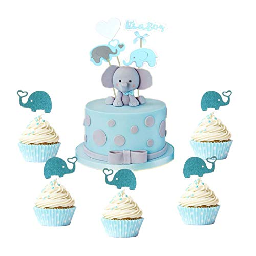 Set of 34pcs LaVenty Elephant Centerpieces Boy Baby Shower Centerpieces Blue Gray Its a Boy Centerpiece First Birthday Table Decoration ()
