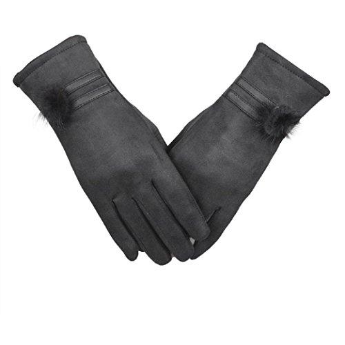 Guantes calientes para Mujeres,Ouneed ® Moda invierno cálido suave muñeca guantes mitones Gris