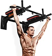 OneTwoFit Wall Mounted Pull Up Bar Chin Up Exercise Bar Gym Dip Station Home Full Body Trainer with Punching B