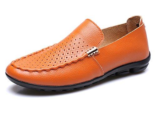 Nr. 66 Town Heren Leren Plateauzolen Loafers Casual Bootschoenen Oranje
