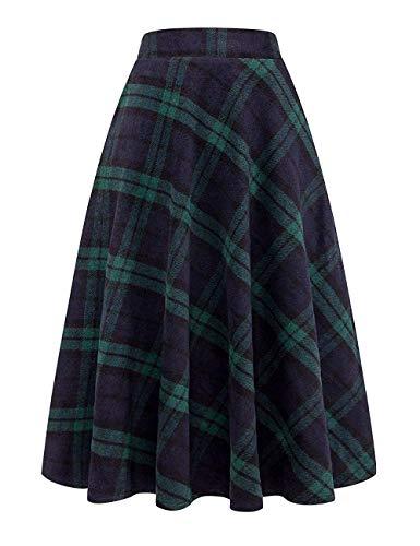 (Daxvens Women Long Plaid Skirt with Pockets, Wool Blend High Waist A Line Midi Tartan Flare Swing Skirts Green)