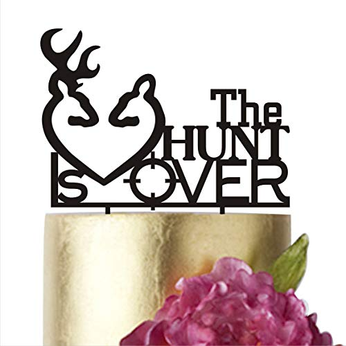 The Hunt is Over, Wedding Cake Toppers, Cake topper Wedding, Anniversary cake topper, Rustic Cake topper, Gold cake topper, Cake Supplies (width 5