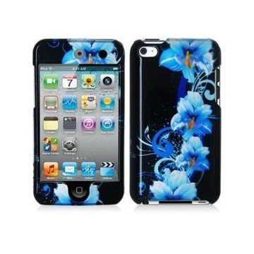 Snap-On Protector Hard Cover Case for iPod Touch 4th Generation / 4th Gen - Blue Flower (Ipod 4th Gen Case Blue)
