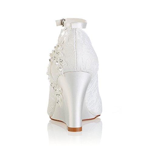 Détail Dentelle Beige Mariage Peep Bride En La Fleurs Ivoire Cheville Wedge Mariée De Toe Bridal Chaussures Emily À wqxtvTXv