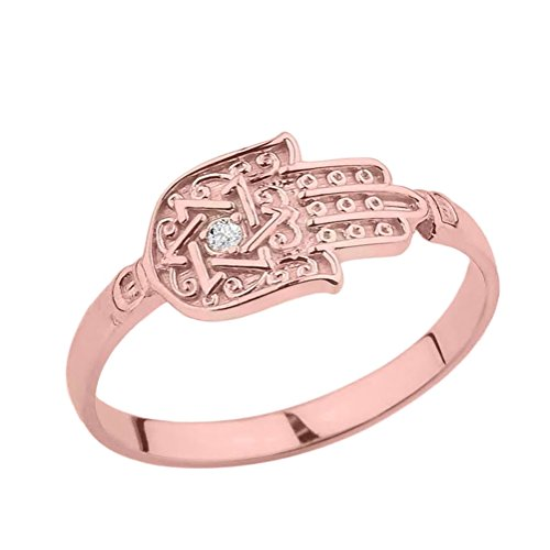 Unique 14k Rose Gold Diamond Hamsa Hand Star of David Ring (Size 6.75)