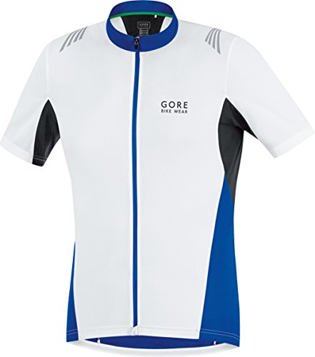- GORE BIKE WEAR Men's  Full Zip Jersey, White/Brilliant Blue, Small