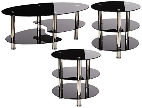 (Poundex F3054 Alberta 3-Pc Glass Metal Tube Table Set, Multi)
