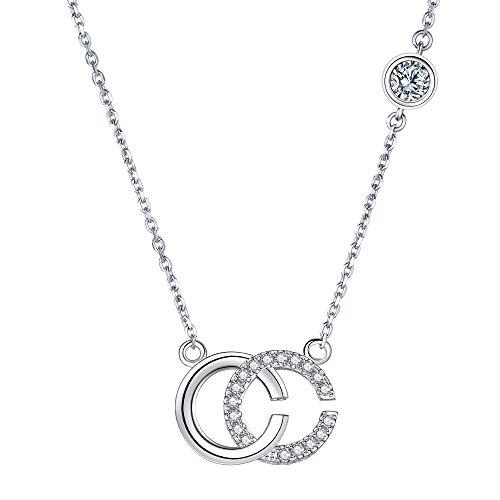ZENI Initial Pendant Necklace 925 Sterling Silver Women Letter C Cubic Zirconia Necklace Thanksgiving 40+5cm