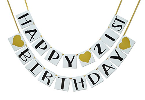 Happy 21st Birthday Banner - Gold Hearts and Ribbon - Birthday Decorations ...
