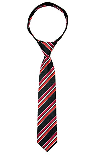 Spring Notion Boys' Pre-tied Woven Zipper Tie Large Black Red Stripes