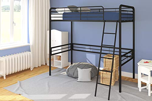 (DHP Simple Metal Loft Bed Frame, Multifunctional, Twin Size, Black)