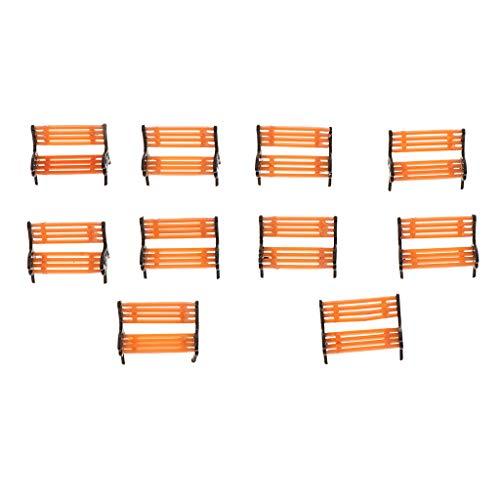 SM SunniMix 10pcs Geaden Park Decor Bench Settle Model 1/100-1/150 Scale Scenics Layouts