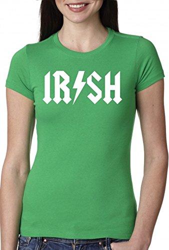 Women's Irish Rockstar Band Logo T Shirt Saint Patricks Day Shirt For Women (green) (Band Logo Shirt)
