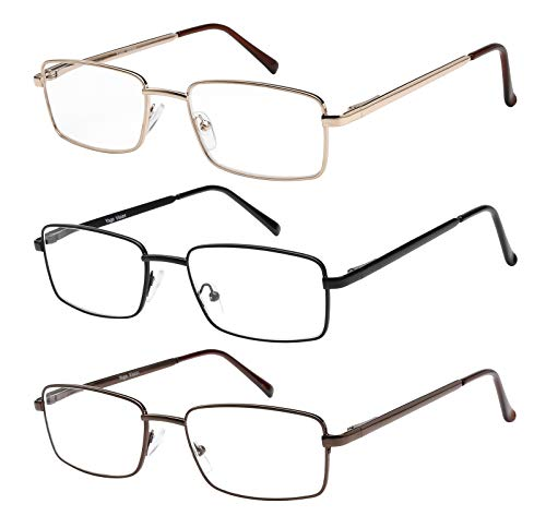 Reading Glasses Set of 3 Metal Full Rim Glasses for reading for Men and Women +2