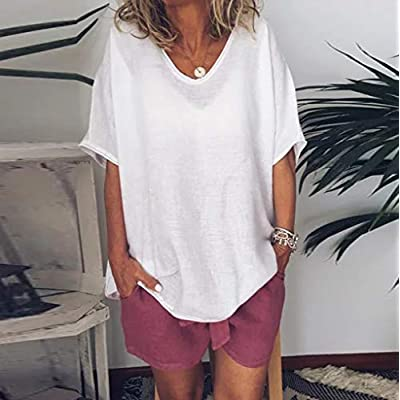 Xinantime Women Solid T Shirt Plus Size Casual Short Sleeve Round Neck Loose Tee Blouse Top: Clothing