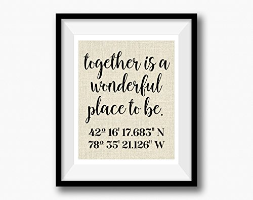 Together is a wonderful place to be. | Latitude Longitude GPS Coordinates | 100 percent Burlap or Canvas Anniversary Gift | Where We Met | Wedding Location