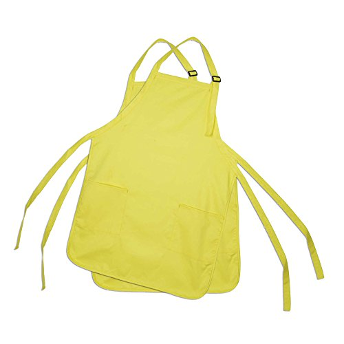(DALIX Apron Commercial Restaurant Home Bib Spun Poly Cotton Kitchen Aprons (2 Pockets) (2, Minion Yellow))