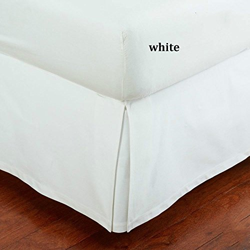 "SRP Bedding Real 550 Thread Count Split Corner Bed Skirt / Dust Ruffle Queen Size Solid White 12"" inches Drop Egyptian Cotton Quality Wrinkle & Fade Resistant"