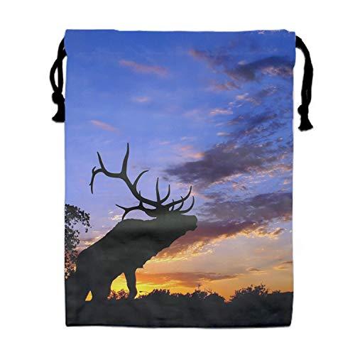 (Elk Under The Sunset Print Drawstring Bag Rucksack Totes Gym Bag Party Favors for Kids)