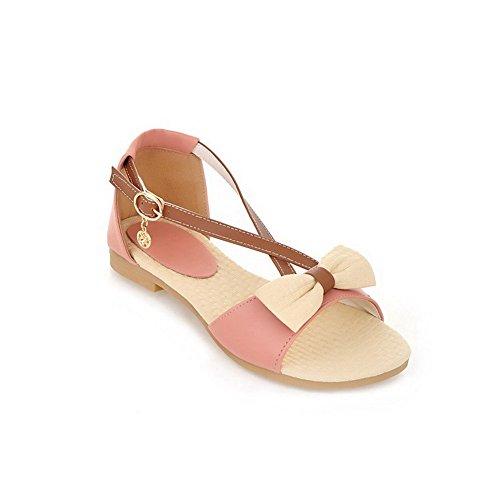 AllhqFashion Damen Gemischte Farbe Schnalle Offener Zehe Niedriger Absatz Sandalen Pink