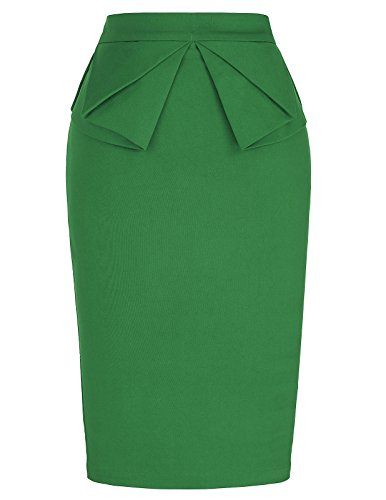PrettyWorld Vintage Dress Women Casual Pencil Skirt Office Work Wear Knee Length Green (L) KL-9 CL454 ()