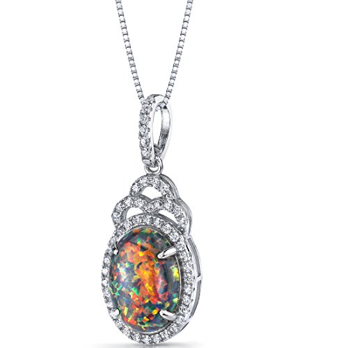 Created Black Opal Harlequin Pendant Necklace Sterling Silver 2.25 Carats